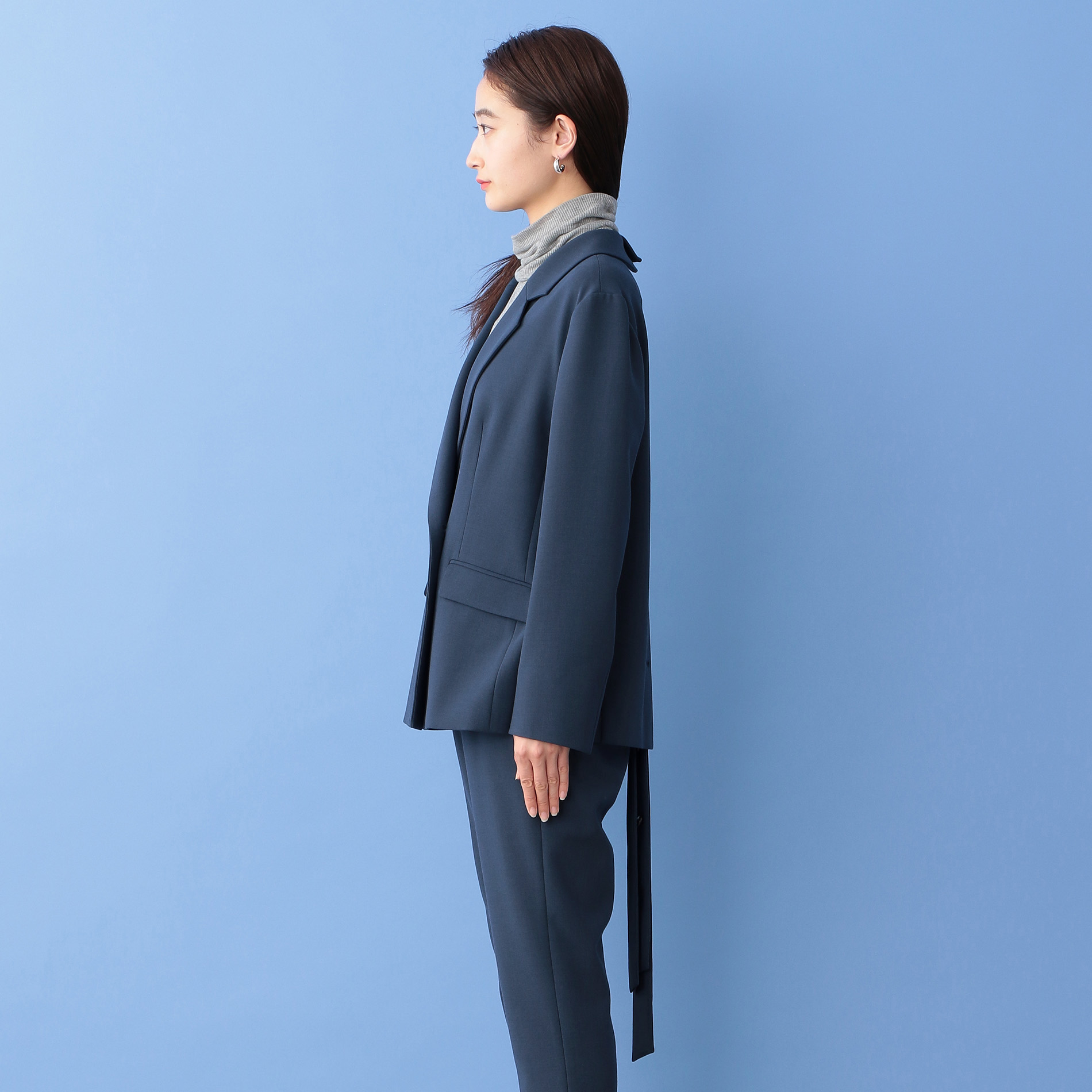 【Oggi10月号掲載】【ショップで人気】ベルテッドコンビジャケット【セットアップ】